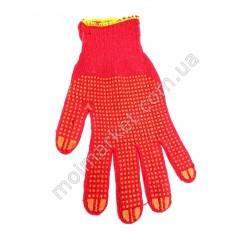 HI1020 Перчатки красн. трикотаж с точкой (600шт в ящ)