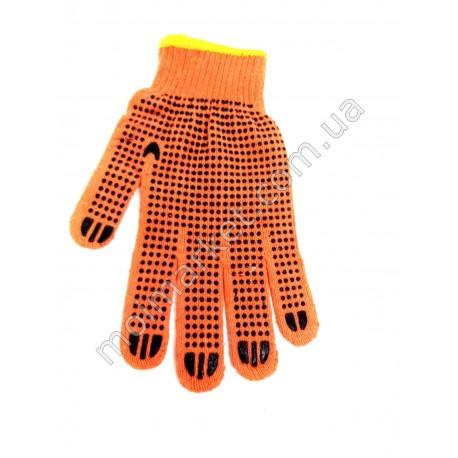 HI1019 Перчатки оранж. ПВХ с точкой (600шт в ящ)
