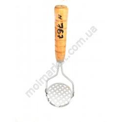HI767 Толкушка круглая, дерев. ручка, 30см (240шт в ящ)