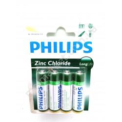 HI664 Батарейки Philips R3, Long Life, 4 шт., ZnCl (240шт в ящ)